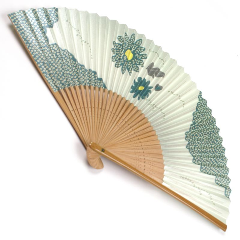 japanese fan made of paper and bamboo, KIKU, blue