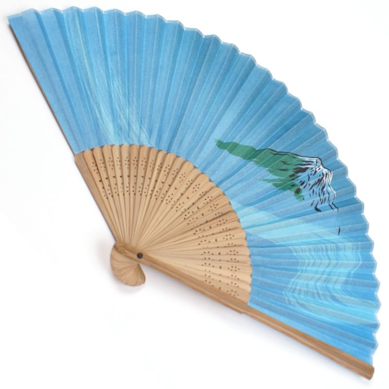 japanese fan in cotton and bamboo, TAKE, blue