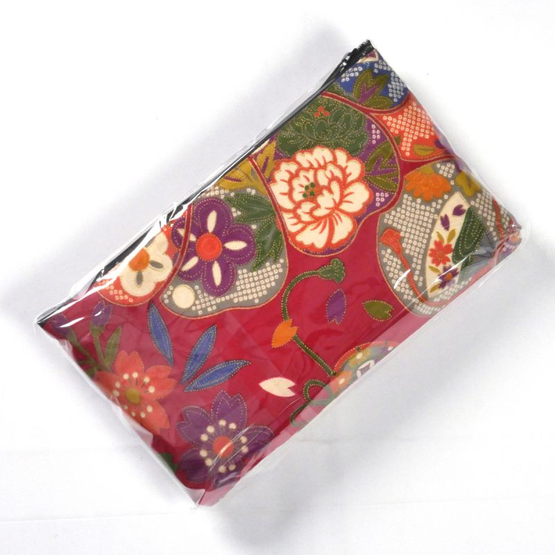 Japanese cotton bag with fabric case and mirror, 1887-3, red