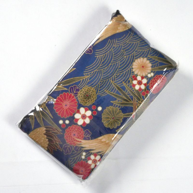 Japanese cotton bag with fabric case and mirror, 1887-11, blue
