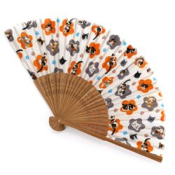 Japanese orange polyester and bamboo fan with cats pattern - GOROGORO - 21cm
