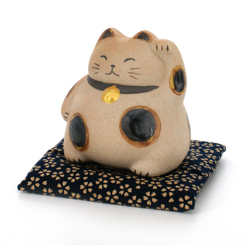 manekineko round coin bank with cushion beige MARU NEKO CHOKIN-BAKO