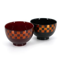 Japanese black and red resin bowl duo with checkerboard pattern - ICHIMATSU - 11x7.2cm