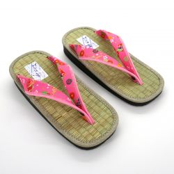 Gozo rice straw japanese sandals for women, GOZA 2528, pink