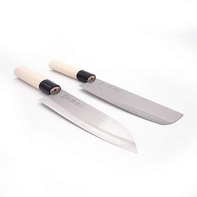 japanese knife set in steel santoku / nakiri SEKIRYU