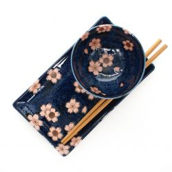 japanese set for sushi , NAVY SAKURA, Blue and pink