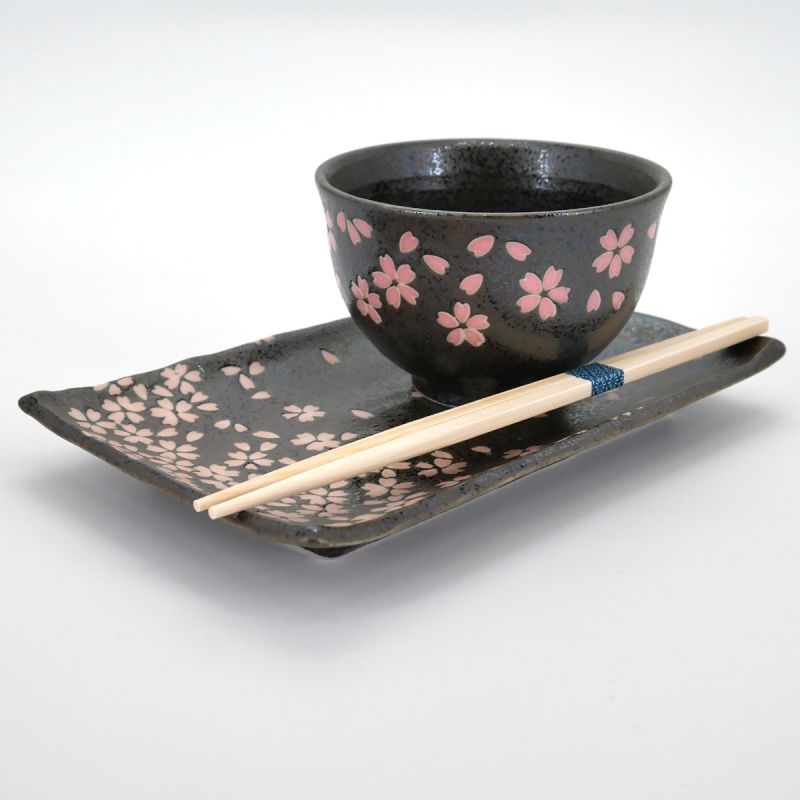 japanese set for sushi , TENMOKU HANAMATSURI, black and pink