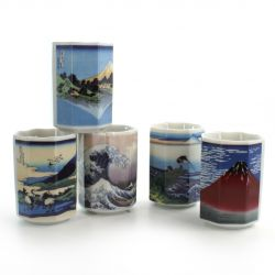 five octogonal teacups set with 5 differents fujisan pictures white FUJI-GARA